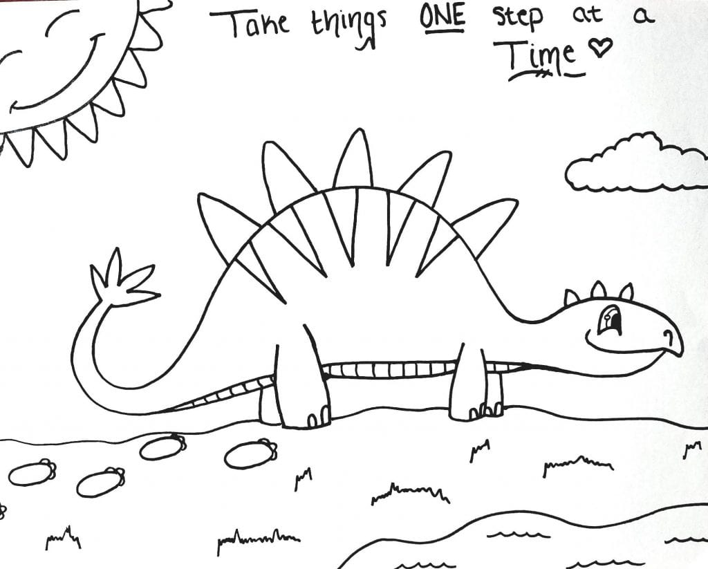 Dinosaur Coloring Page - One Step At A Time