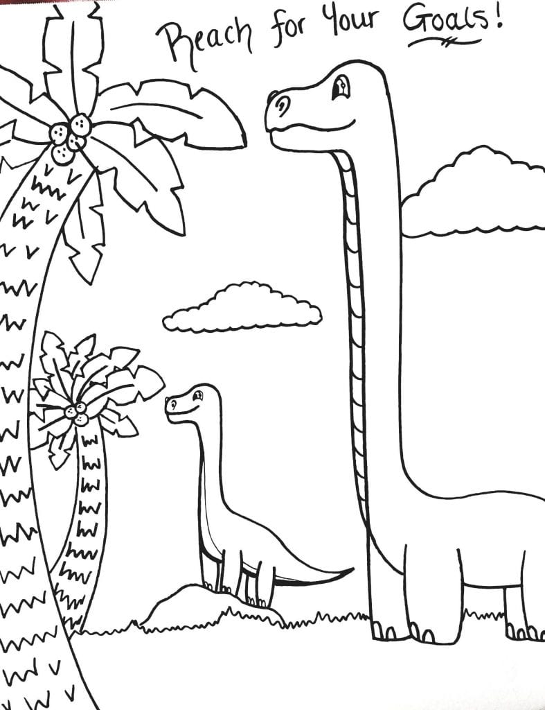 Dinosaur Coloring Page - Reach For Your Goals