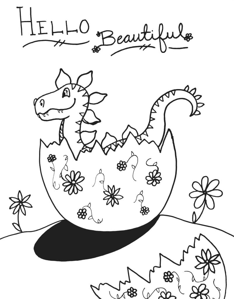 Dinosaur Coloring Page - Hello Beautiful