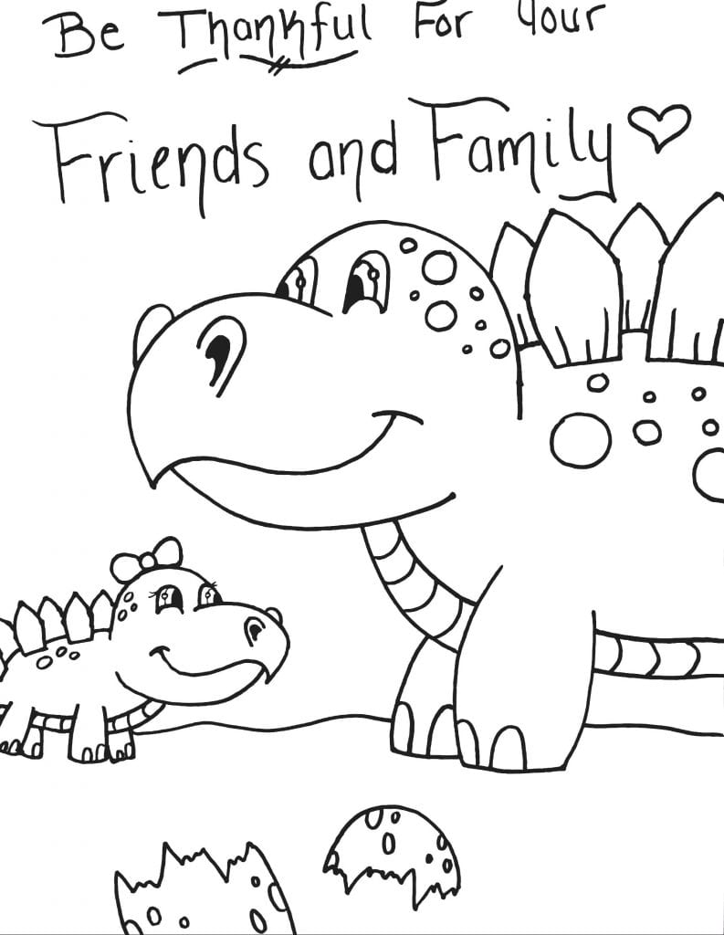 Dinosaur Coloring Page - Be Thankful