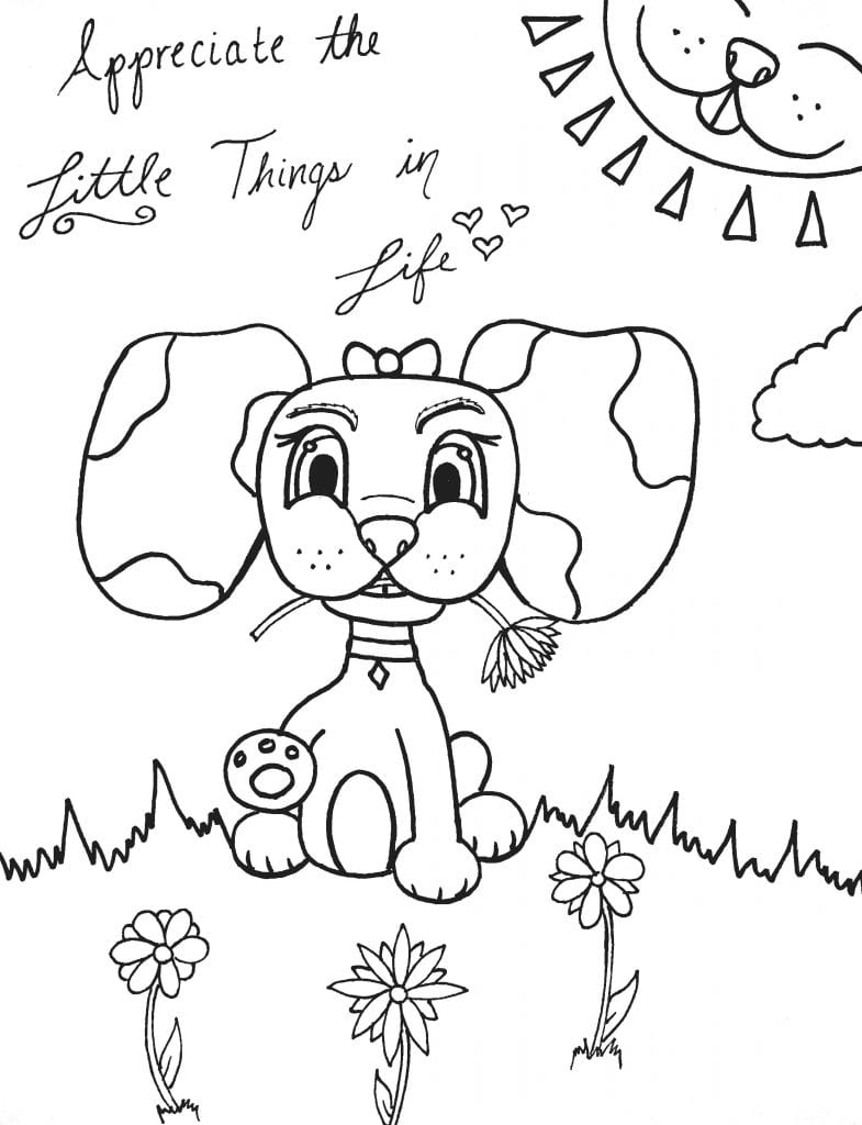 Puppy Coloring Page - Appreciate The Little Things