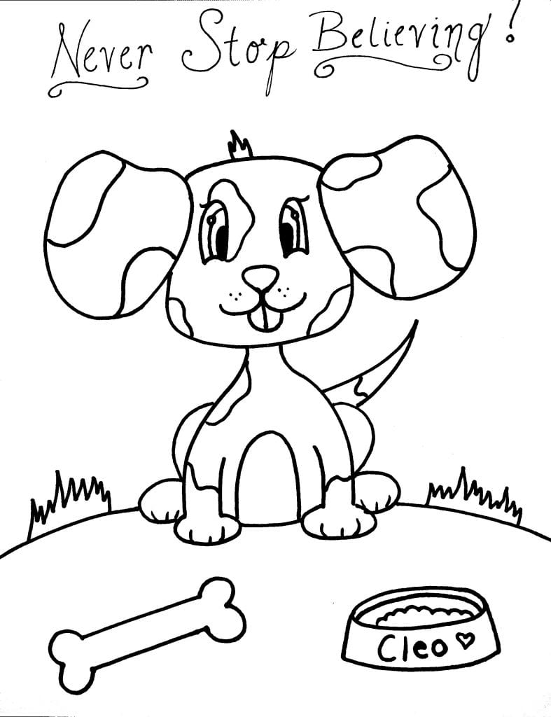 Puppy Coloring Page - Never Stop Believing