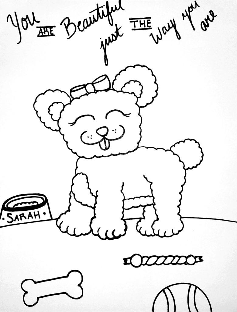 Puppy Coloring Page - You Are Beautiful