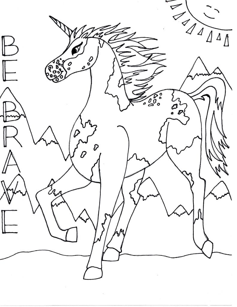 Unicorn Coloring Page - Be Brave