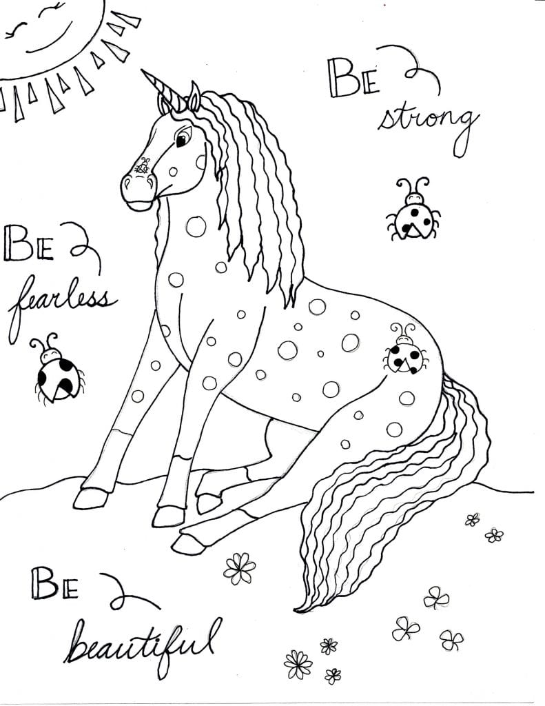 Unicorn Coloring Page - Be Strong