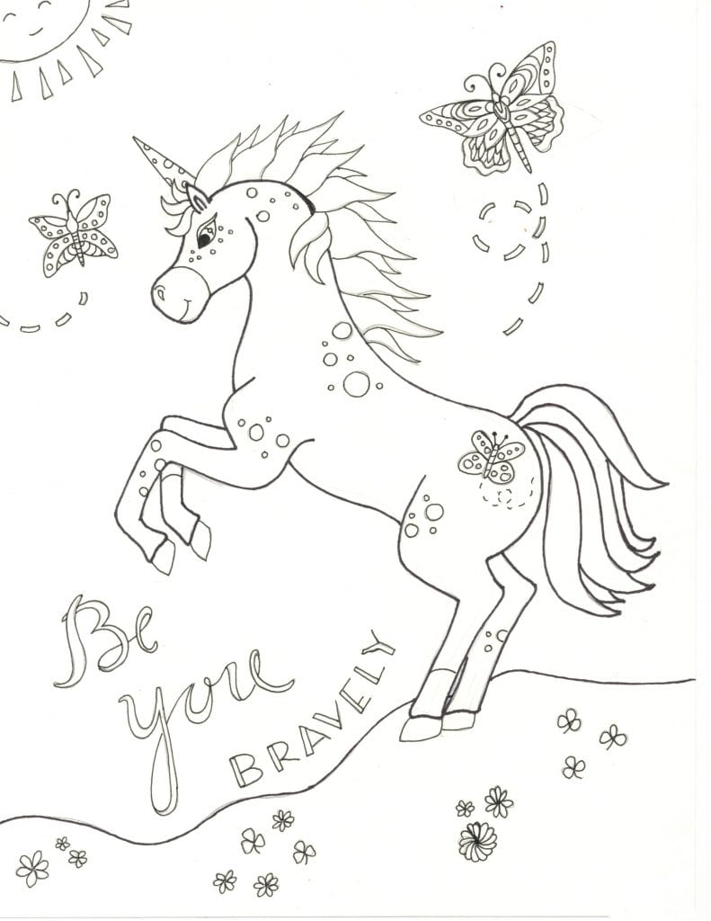 Unicorn Coloring Page-Be You Bravely