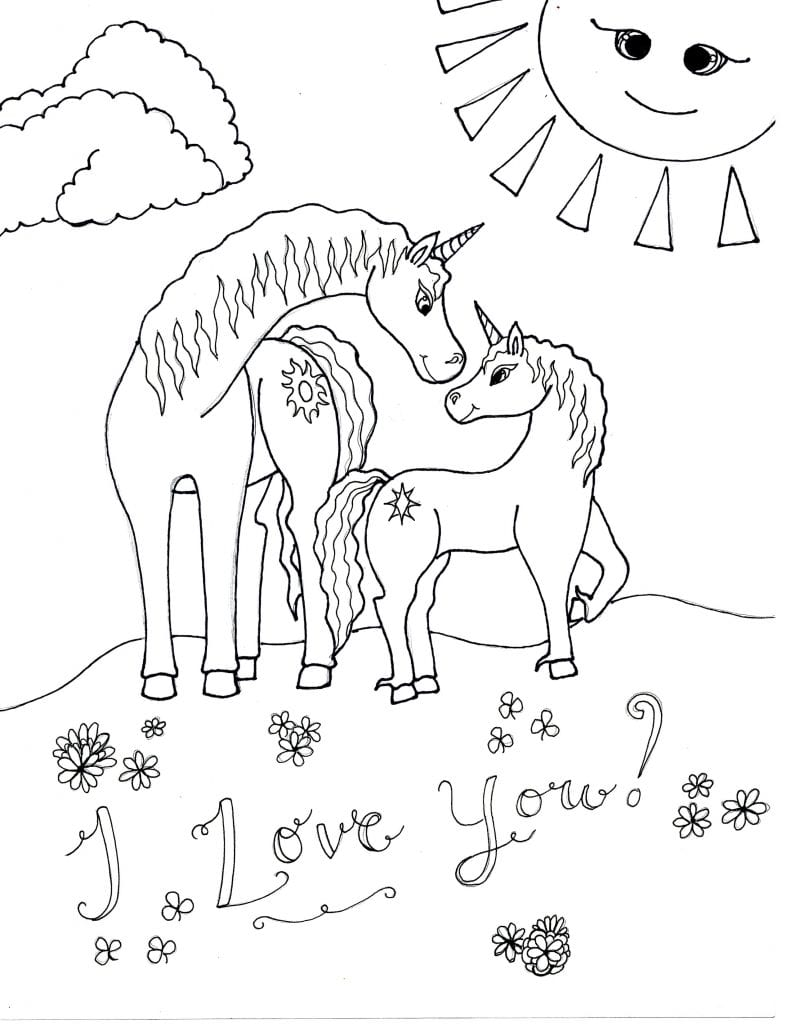 Unicorn Coloring Page - I Love You