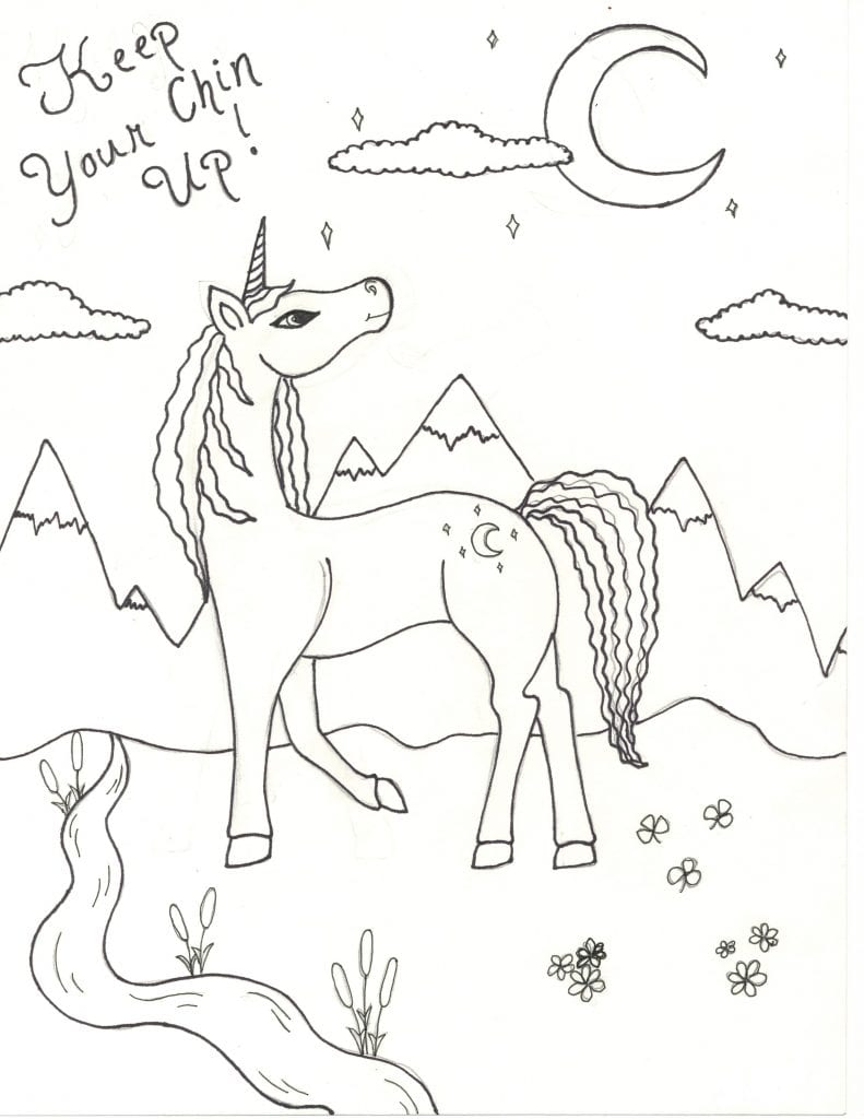 Unicorn Coloring Page - Keep Your Chin Up