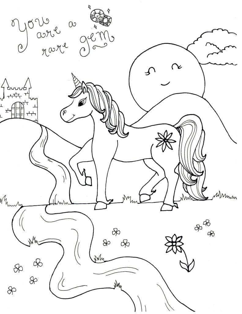 Unicorn Coloring Page - You Are A Rare Gem