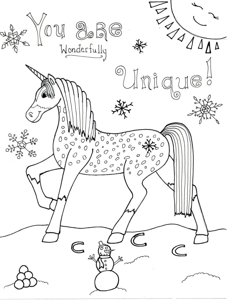Unicorn Coloring Page - You Are Wonderfully Unique