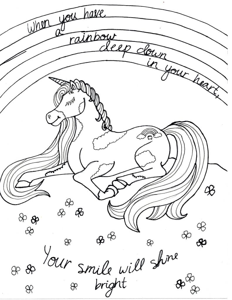 Unicorn Coloring Page -Your Smile Will Shine
