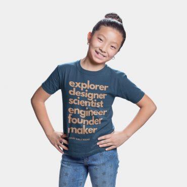 Little girl wearing blue Smart Girls Squad shirt for kids