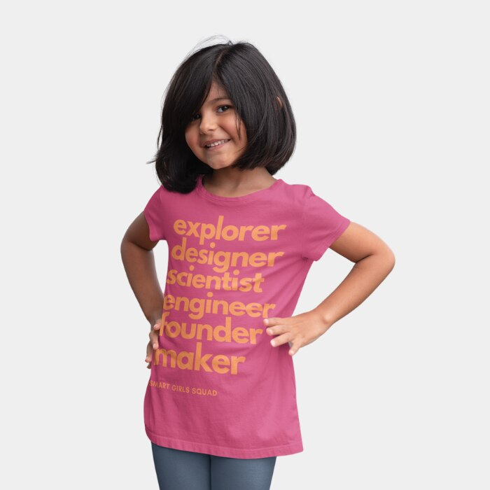 Smiling girl wearing pink Smart Girls Squad t-shirt for kids